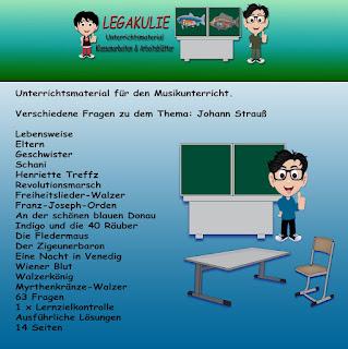 Johann Strauß Musik Schularbeit Unterrichtsmaterial