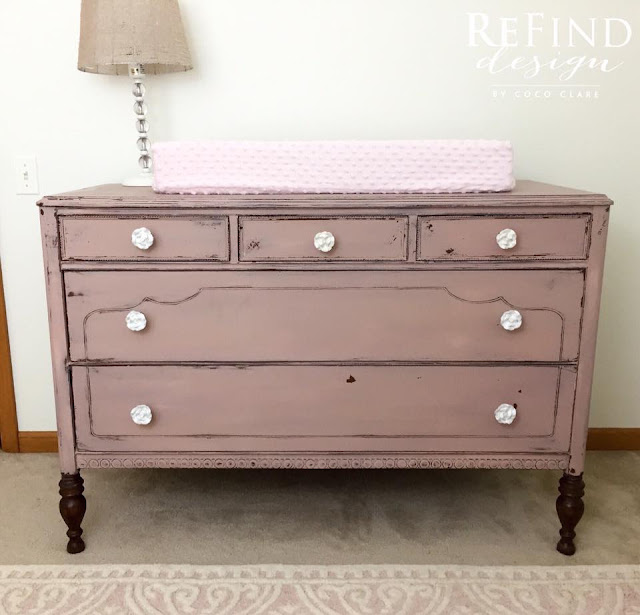 miss mustard seed milk paint, pink nursery dresser and changing table, how to turn a dresser into a changing table, pink nursery