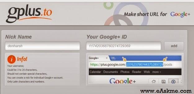 Google Plus Vanity URL Sites : eAskme