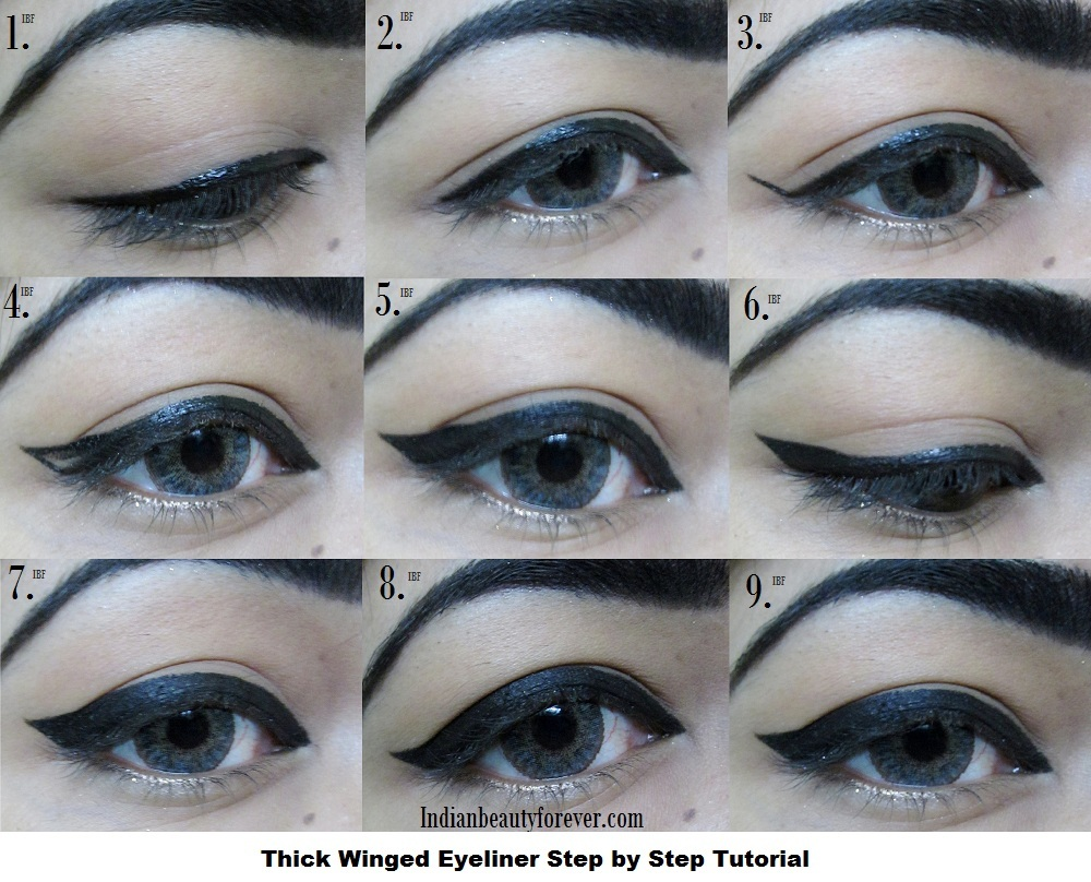 Thick winged Eyeliner Step by step tutorial