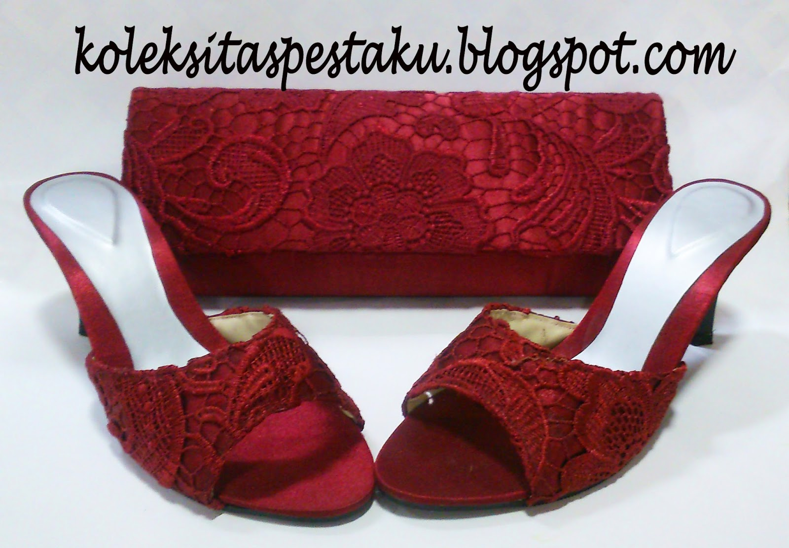 Tas Pesta Clutch Bag Slop Matching Maroon Tile Bunga Timbul