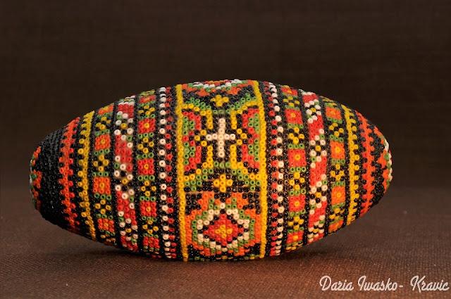 Beaded Egg Made by Daria Iwasko USA Ukraine