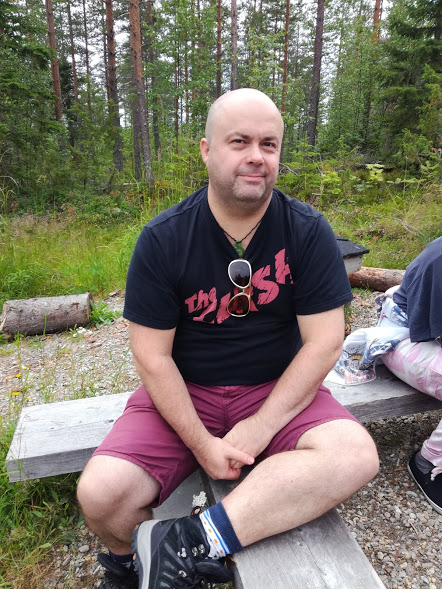 Me taking a breather after visiting the Tulilahti swamp graves.
