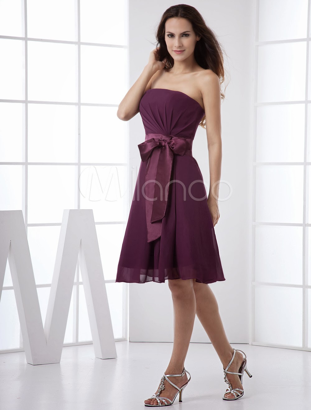 China Wholesale Dresses - Grape Strapless Sash Satin Chiffon Summer Homecoming Bridesmaid Dress