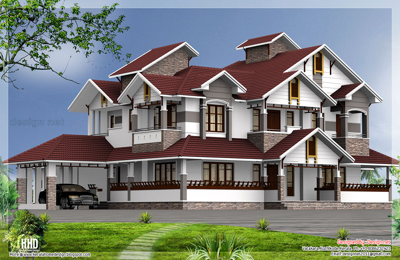 6 bedroom luxury house design kerala house design idea for Design for house