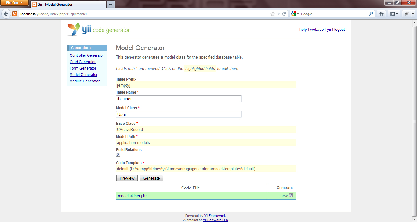 How to use model generator gii tool yii code generator you can see php code by click preview button and the modelsuserp this code will be automatically stored in the xampp htdocs yourappname protected maxwellsz