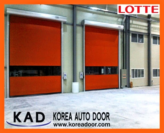 The photo explain the function of high speed door that perserve sanitary environment which is installed in the Lotte plant.