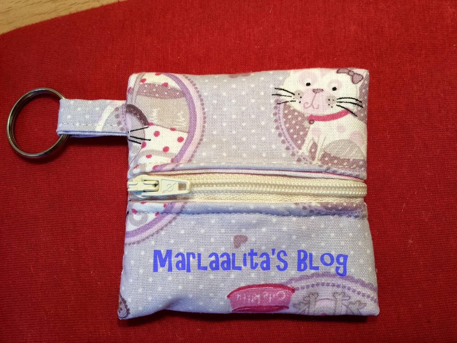 Monedero mini llavero de gatitos costura con cremallera