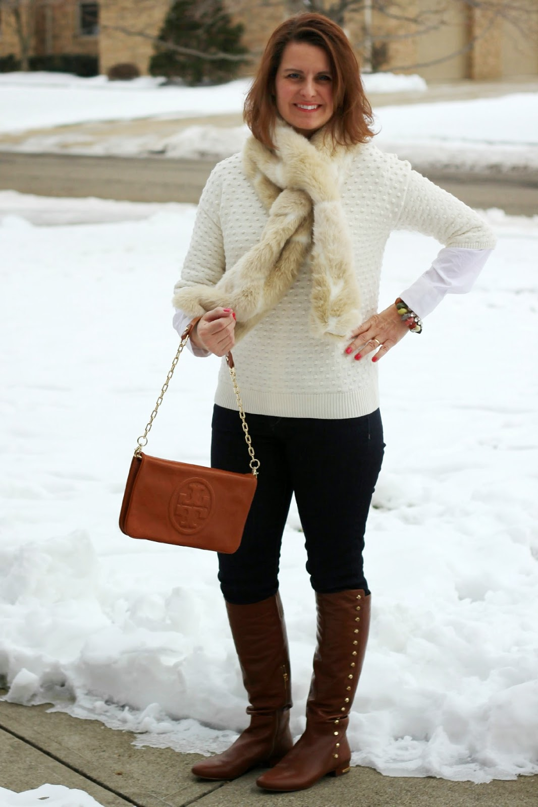 Faux fur scar, neutral colors winter outfit, winter look, cognac accessories and boots
