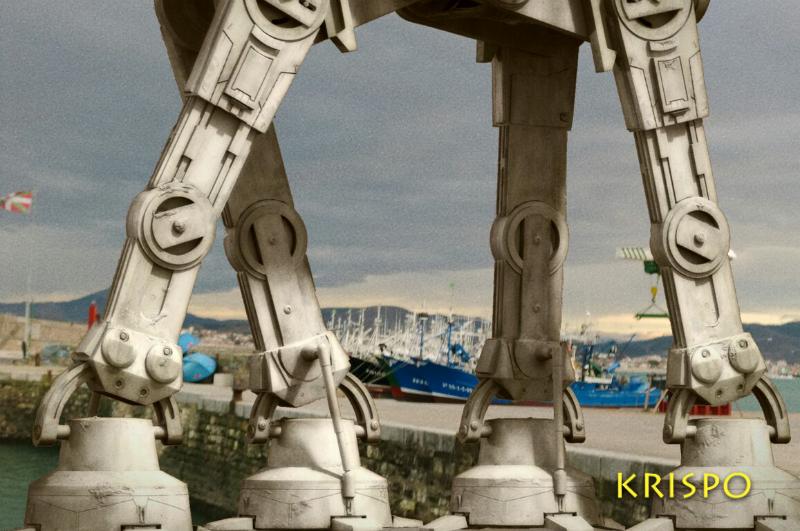 detalle de las patas de robot at at de star wars en el puerto de hondarribia