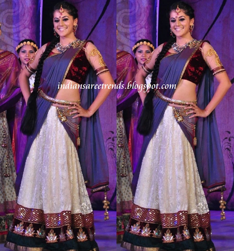Taapsee in designer white and violet half saree(langa voni) with red
