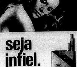 Propaganda dos Cigarros Califórnia em 1969 que fazia ligação à infidelidade.