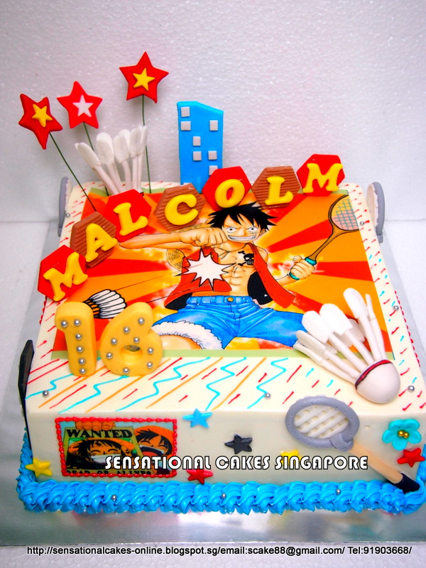 The Sensational Cakes ONE PIECE BADMINTON CAKE SINGAPORE FONDANT