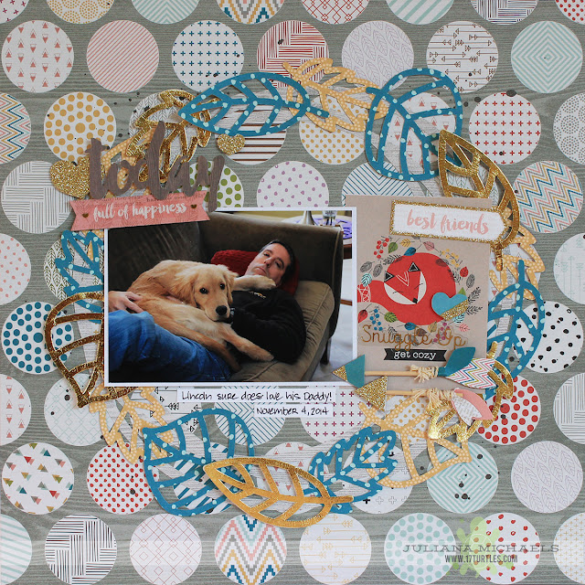 Snuggle Up Puppy Scrapbook Page by Juliana Michaels featuring Pink Paislee Cedar Lane, Therm O Web Deco Foil and Make A Wreath 17turtles Free Digital Cut File