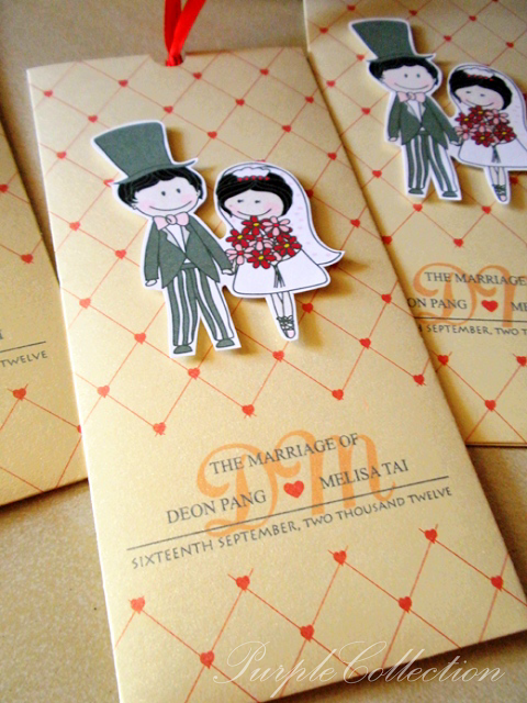 Cartoon Pocket Wedding Invitation Card, Deon & Melisa, deon, melisa, cartoon card, pocket card, wedding card, wedding, invitation card, western wedding cards, Pearl Ivory Gold Card, sliding pocket