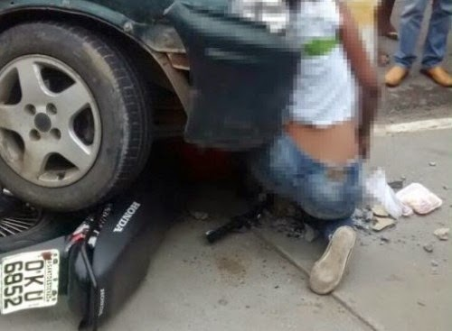 Jovem morre imprensada por carro contra poste em Santo Estevão.