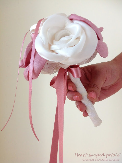 fabric bouquet in ivory and dusty pink