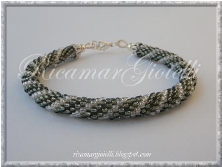 Bracciale crochet grigio-verde
