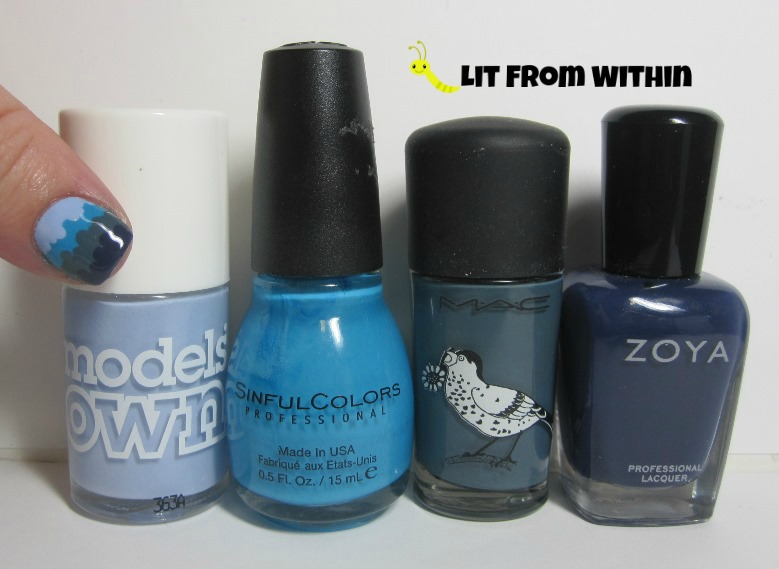 Bottle shot:  Models Own Beth's Blue, Sinful Colors Jolt, MAC Blue India, and Zoya Sailor.
