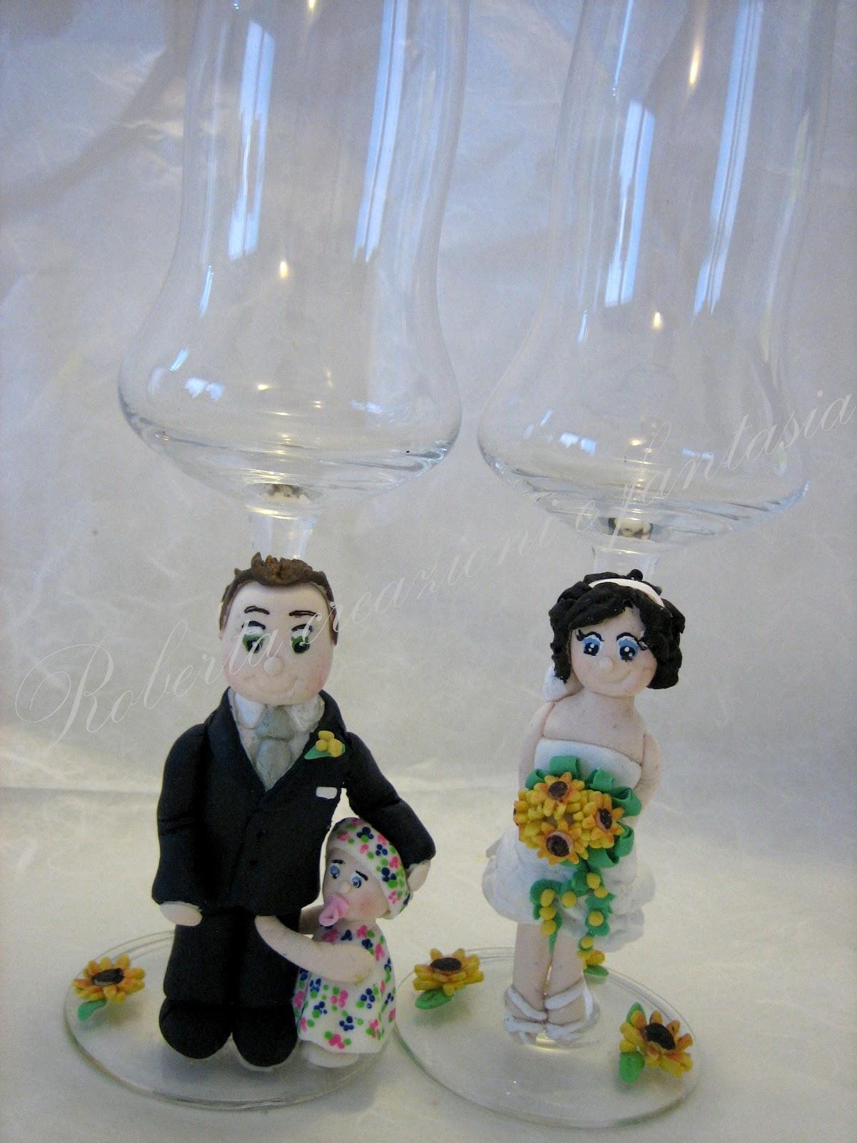 Bicchieri decorati sposi roberta creazioni e fantasia in pasta di mais e non solo - Bicchieri decorati per natale ...