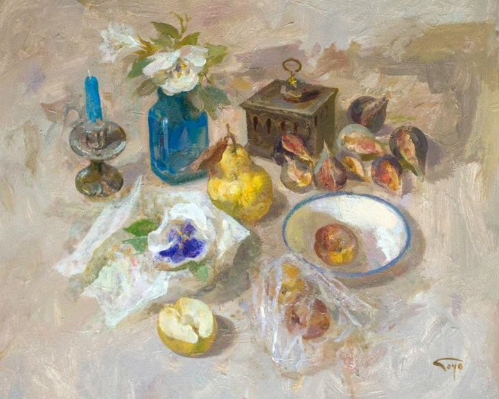 Goyo Dominguez 1960 | Spanish-born British Romantic/Realist painter | Still life