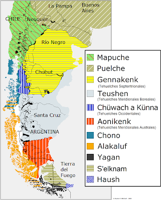 map of natives of Patagonia
