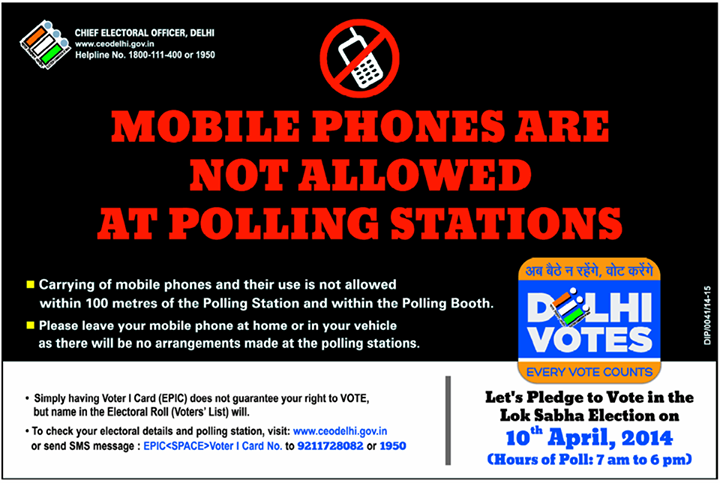 mobile phone not allowed in 2014 polling stations