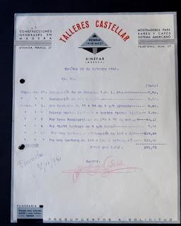 Factura de Talleres Castellar del 20 de octubre de 1941