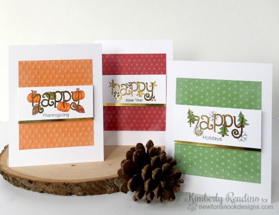 Happy Hoildays cards by Kimberly Rendino | Simply Seasonal Stamp set by Newton's Nook Designs #newtonsnook