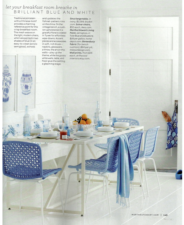 Martha Stewart Living: Blue & White Decorating Ideas – Bright.
