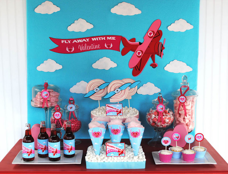 Kara 39 s party ideas fly away with me valentine s party for Airplane party decoration