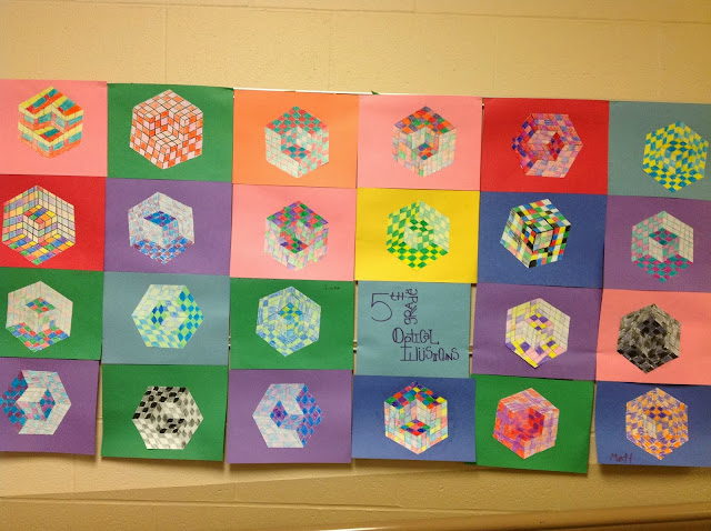 5th Grade Optical Illusion Cube with Parallel Lines and Crayon Shading