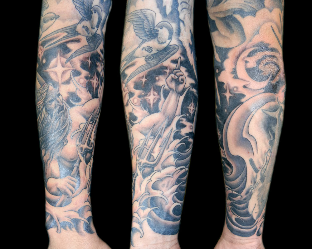 Night Sky Tattoo Sleeve http://megonshore.blogspot.com/2012/02/poseidon.html
