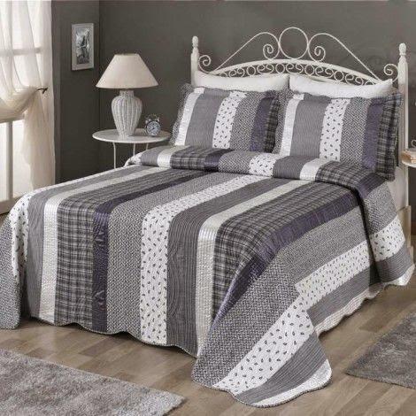 multi-color stripe grey bedding