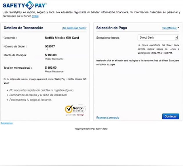 SafetyPay Account Settings Screen