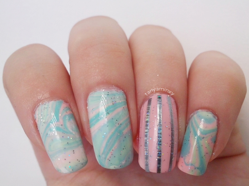 Matching Manicures: Water Marble Nails Pastel Water Marble Nails Nail Art Nail Designs  Striping Tape Nails