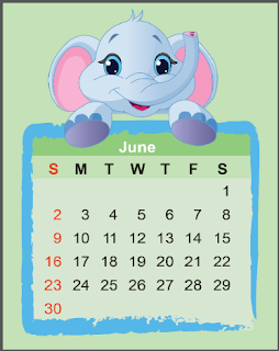 Elephant Calendar For more free printables, ranging from worksheets and lesson plans, to cards, calendars, invitations, crafts, coupons, coloring pages, music, activities and more, please check out www.freeprintableonline.com today!