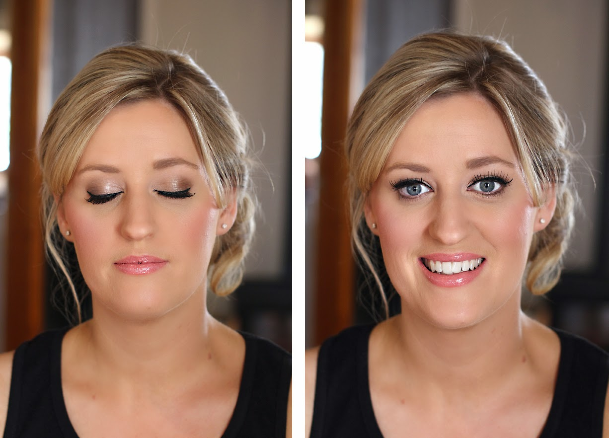 Beautiful Bridesmaid makeup. Natural Taupe Pearl eyeshadow & gloss lips. Makeup by Katie Dawson from Perle Jewellery & Makeup