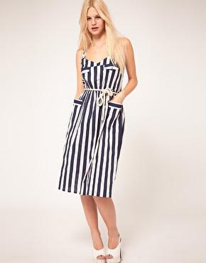 asos stripy midi dress, dress with pockets