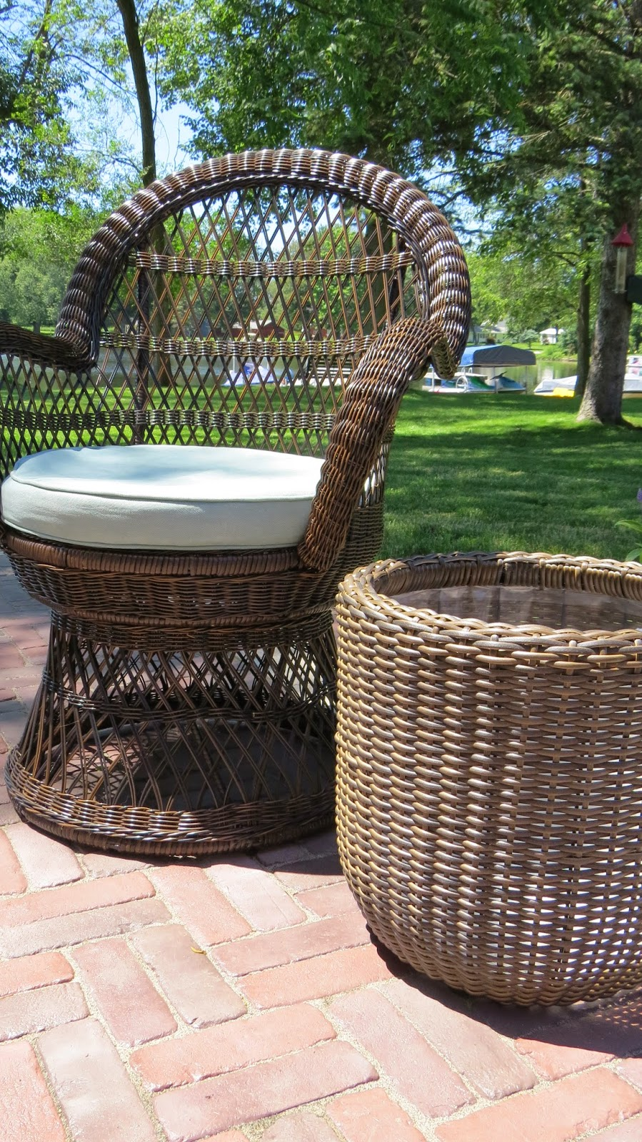 Pier 1 Imports Wicker Swivel Chair, Wicker Planter from JoAnns, Patio