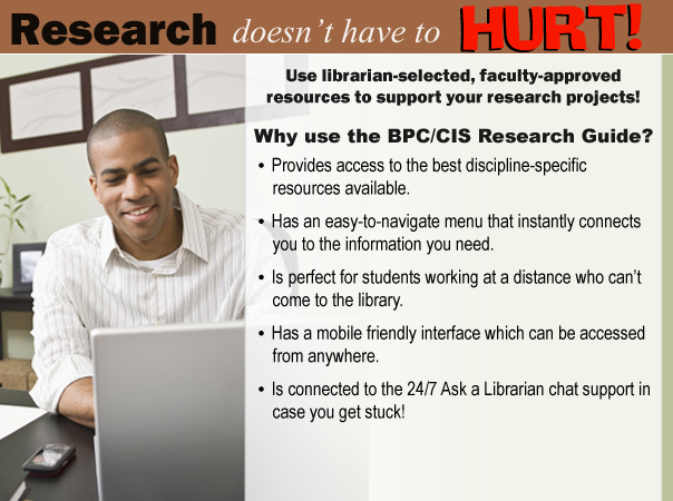 Banner for Computer Technology Research Guide.  Text: Research doesn't have to HURT!  Use librarian-selected, faculty-approved resources to support your research projects!  Why use the BPC/CIS Research Guide?  Provides access to the best discipline-specific resources available.  Has an easy-to-navigate menu that instantly connects you to the information you need.  Is perfect for students working at a distance who can't come to the library.  Has a mobile friendly interface which can be accessed from anywhere.  Is connected to the 24/7 Ask a Librarian chat support in case you get stuck!