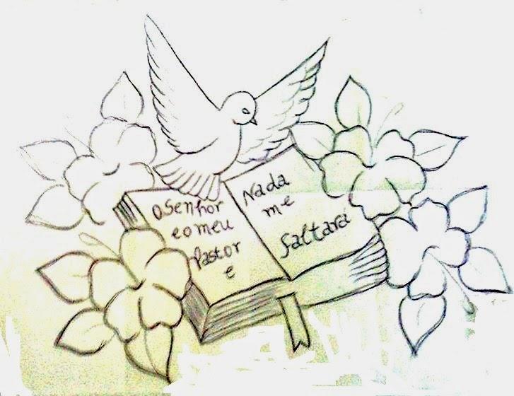 Pintura em tecido - Pano de copa com biblia, pomba do Espirito Santo e ...