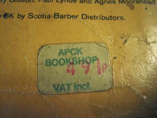 Original price tag saying APCK Bookshop and 49 1/2 p.