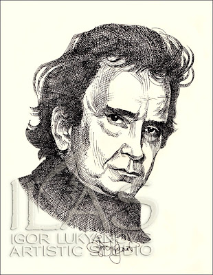 Johnny Cash portrait, American music legend artwork