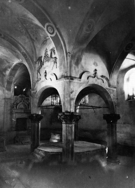 Przysucha, bóżnica murowana. Wnętrze sali, stan w 1960 r.