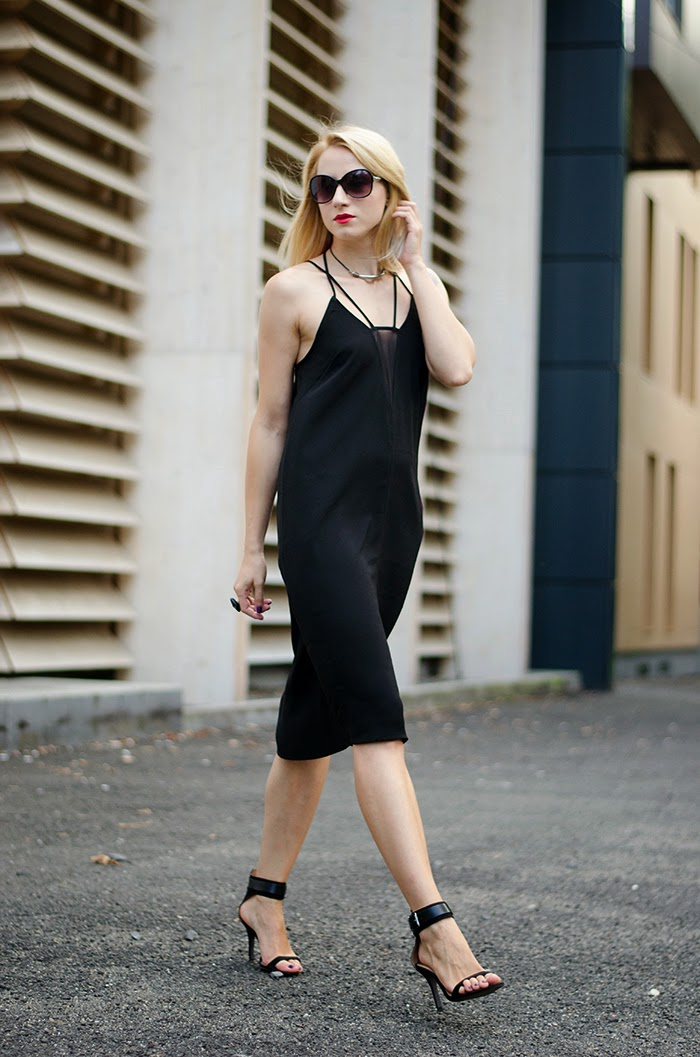 LBD H&M dress sheer panel Zara black sandals