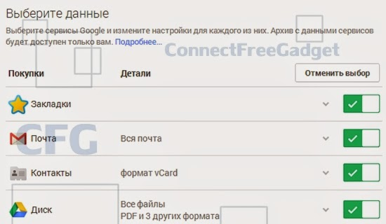 Google Takeout - Google Забирай