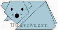 Bước 15: Vẽ mắt mũi để hoàn thành cách xếp con chuột bằng giấy.