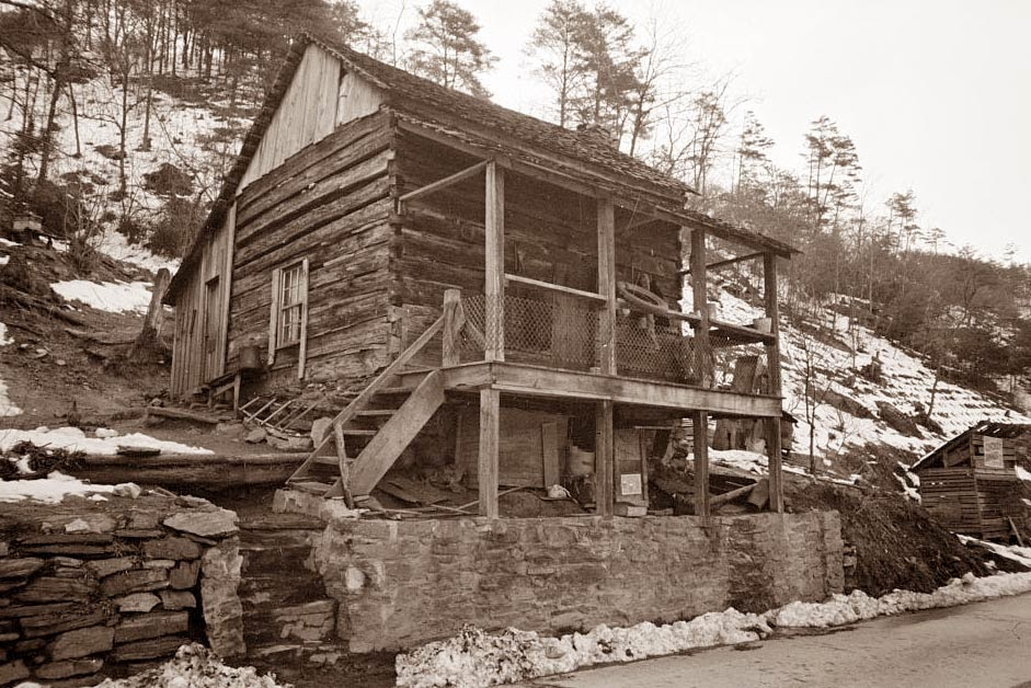 Old picture of the day for Appalachian mountain cabins