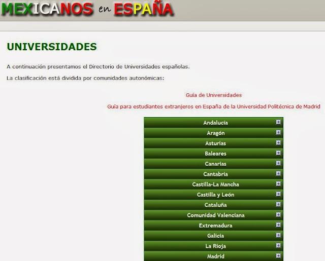 http://www.mexicanosenespana.com/universidades.htm
